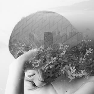 double exposure buildings and girl