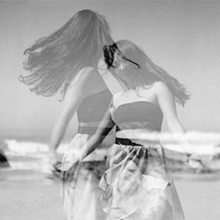 double exposure girl on beach