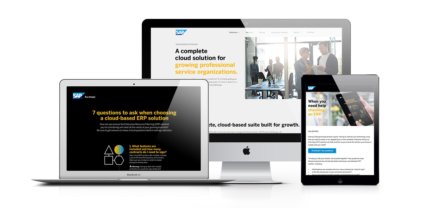 sap case study desktop mobile laptop landing pages