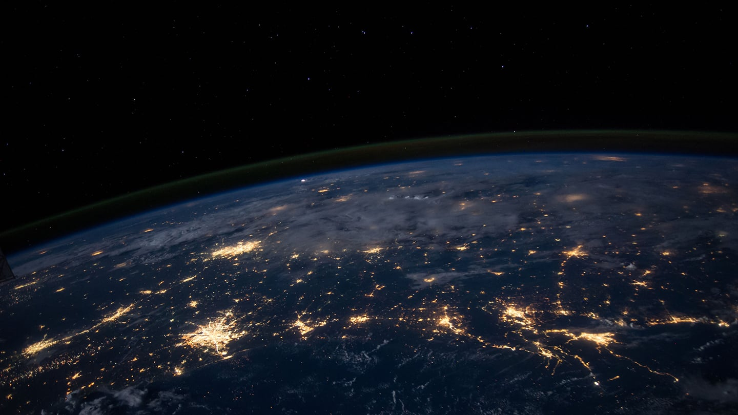 earth from space with light beams